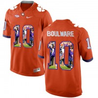 Clemson Tigers #10 Ben Boulware Orange With Portrait Print College Football Jersey6