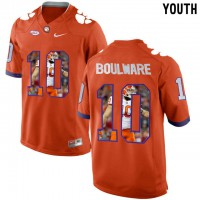Clemson Tigers #10 Ben Boulware Orange With Portrait Print Youth College Football Jersey2
