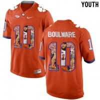 Clemson Tigers #10 Ben Boulware Orange With Portrait Print Youth College Football Jersey3