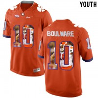 Clemson Tigers #10 Ben Boulware Orange With Portrait Print Youth College Football Jersey4
