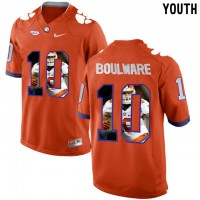 Clemson Tigers #10 Ben Boulware Orange With Portrait Print Youth College Football Jersey5
