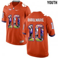 Clemson Tigers #10 Ben Boulware Orange With Portrait Print Youth College Football Jersey6