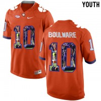 Clemson Tigers #10 Ben Boulware Orange With Portrait Print Youth College Football Jersey7
