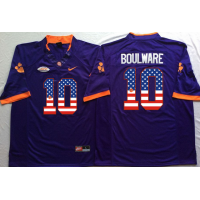 Clemson Tigers #10 Ben Boulware Purple USA Flag College Jersey