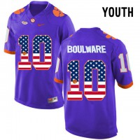 Clemson Tigers #10 Ben Boulware Purple USA Flag Youth College Football Jersey