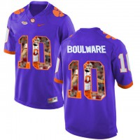 Clemson Tigers #10 Ben Boulware Purple With Portrait Print College Football Jersey