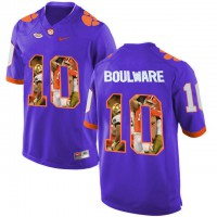 Clemson Tigers #10 Ben Boulware Purple With Portrait Print College Football Jersey2