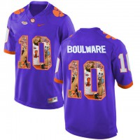 Clemson Tigers #10 Ben Boulware Purple With Portrait Print College Football Jersey3