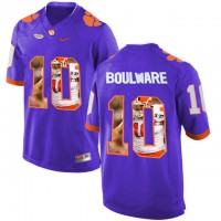 Clemson Tigers #10 Ben Boulware Purple With Portrait Print College Football Jersey4