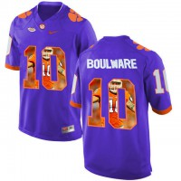 Clemson Tigers #10 Ben Boulware Purple With Portrait Print College Football Jersey6