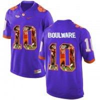 Clemson Tigers #10 Ben Boulware Purple With Portrait Print College Football Jersey7