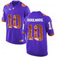 Clemson Tigers #10 Ben Boulware Purple With Portrait Print College Football Jersey9