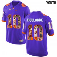 Clemson Tigers #10 Ben Boulware Purple With Portrait Print Youth College Football Jersey