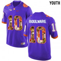 Clemson Tigers #10 Ben Boulware Purple With Portrait Print Youth College Football Jersey2