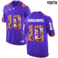 Clemson Tigers #10 Ben Boulware Purple With Portrait Print Youth College Football Jersey3