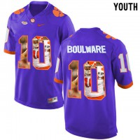 Clemson Tigers #10 Ben Boulware Purple With Portrait Print Youth College Football Jersey4