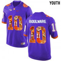 Clemson Tigers #10 Ben Boulware Purple With Portrait Print Youth College Football Jersey6