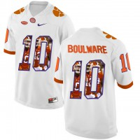 Clemson Tigers #10 Ben Boulware White With Portrait Print College Football Jersey7