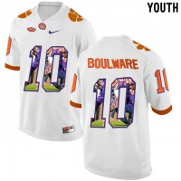Clemson Tigers #10 Ben Boulware White With Portrait Print Youth College Football Jersey8
