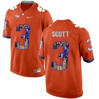Clemson Tigers #3 Artavis Scott Orange With Portrait Print College Football Jersey