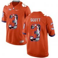 Clemson Tigers #3 Artavis Scott Orange With Portrait Print College Football Jersey3