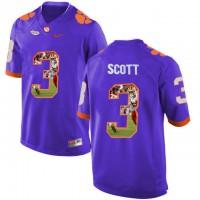 Clemson Tigers #3 Artavis Scott Purple With Portrait Print College Football Jersey9