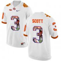 Clemson Tigers #3 Artavis Scott White With Portrait Print College Football Jersey6