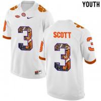Clemson Tigers #3 Artavis Scott White With Portrait Print Youth College Football Jersey5