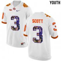 Clemson Tigers #3 Artavis Scott White With Portrait Print Youth College Football Jersey8