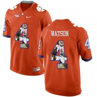 Clemson Tigers #4 DeShaun Watson Orange With Portrait Print College Football Jersey4