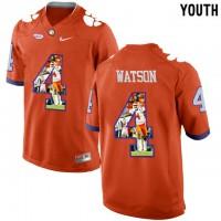 Clemson Tigers #4 DeShaun Watson Orange With Portrait Print Youth College Football Jersey5