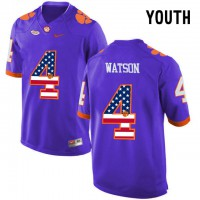 Clemson Tigers #4 DeShaun Watson Purple USA Flag Youth College Football Jersey
