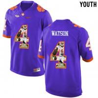 Clemson Tigers #4 DeShaun Watson Purple With Portrait Print Youth College Football Jersey3
