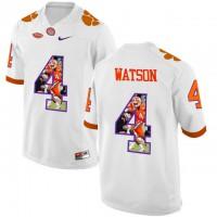 Clemson Tigers #4 DeShaun Watson White With Portrait Print College Football Jersey5