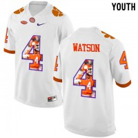 Clemson Tigers #4 DeShaun Watson White With Portrait Print Youth College Football Jersey2
