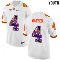 Clemson Tigers #4 DeShaun Watson White With Portrait Print Youth College Football Jersey7