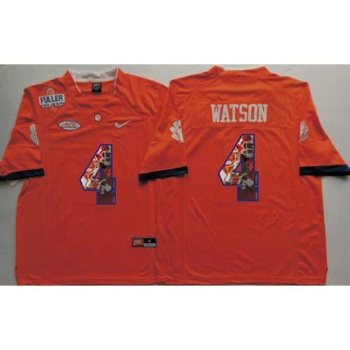 best service c4892 e2e51 Clemson Tigers #4 Deshaun Watson Orange Player Fashion ...