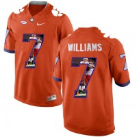 Clemson Tigers #7 Mike Williams Orange With Portrait Print College Football Jersey5