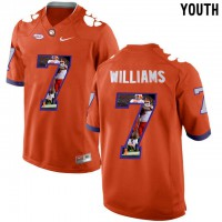 Clemson Tigers #7 Mike Williams Orange With Portrait Print Youth College Football Jersey5