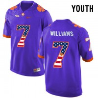 Clemson Tigers #7 Mike Williams Purple USA Flag Youth College Football Jersey