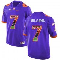 Clemson Tigers #7 Mike Williams Purple With Portrait Print College Football Jersey8