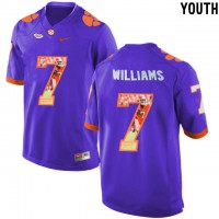 Clemson Tigers #7 Mike Williams Purple With Portrait Print Youth College Football Jersey