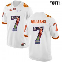 Clemson Tigers #7 Mike Williams White With Portrait Print Youth College Football Jersey3