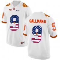 Clemson Tigers #9 Wayne Gallman II White USA Flag College Football Jersey