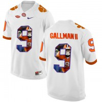 Clemson Tigers #9 Wayne Gallman II White With Portrait Print College Football Jersey4