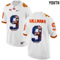 Clemson Tigers #9 Wayne Gallman II White With Portrait Print Youth College Football Jersey2