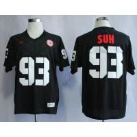 Cornhuskers #93 Ndamukong Suh Black New Big 10 Stitched NCAA Jersey