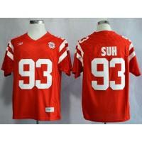 Cornhuskers #93 Ndamukong Suh Red New Big 10 Stitched NCAA Jersey