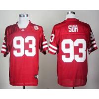 Cornhuskers #93 Ndamukong Suh Red Stitched NCAA Jersey