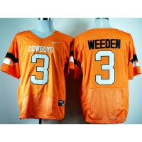 Cowboys #3 Brandon Weeden Orange Pro Combat Stitched NCAA Jersey